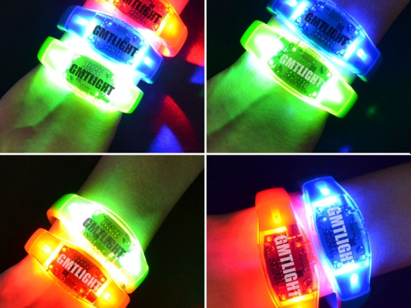 Glow in the dark mens LED rubber bracelets