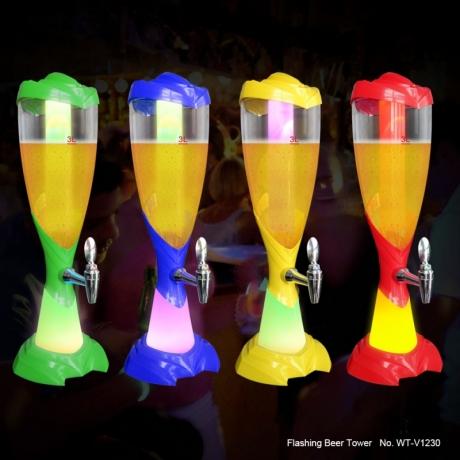 Night favor colorful light led beverage dispenser tower