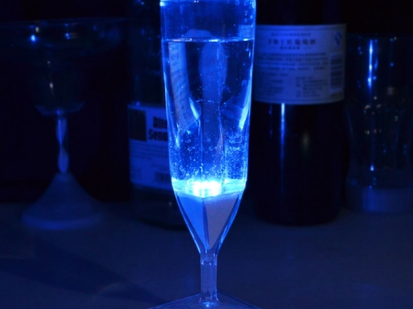 Liquid activated LED colorful light plastic champagne glass