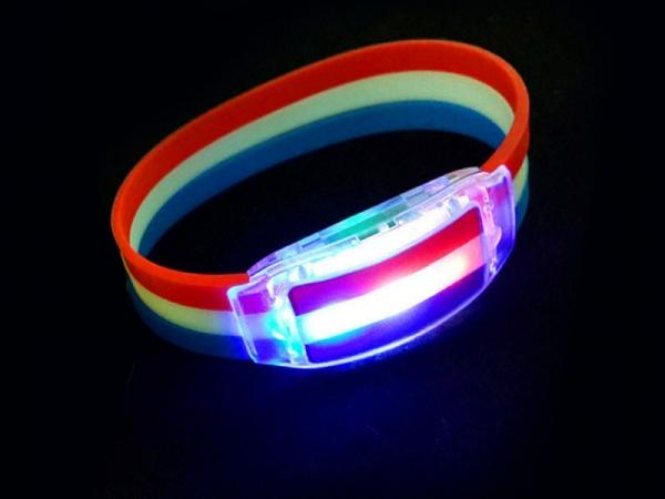 LED flashing rainbow silicone bracelet with logo