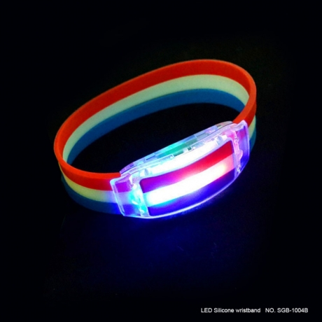 LED flashing rainbow silicone bracelet with logo