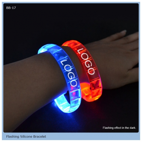LED Flashing Silicone Rubber Bracelet