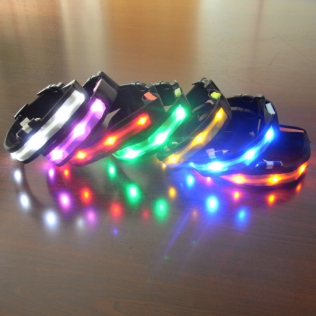 Battery power fiber led light up dog necklace