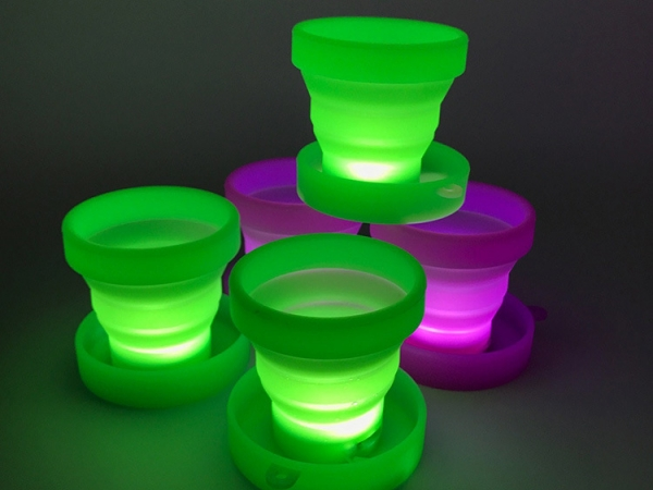 USB Rechargeable LED silicone folding cup