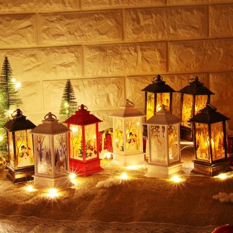 Square shape wooden LED Candle Lantern