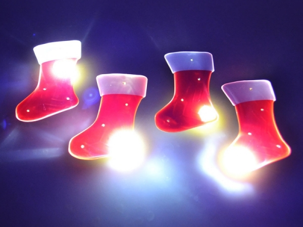 Custom LED Flashing Light up Christmas stocking pin badge