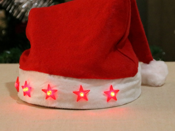 LED Christmas Hat With Light Stars