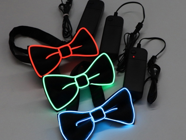 EL Wire Flashing Bow Tie