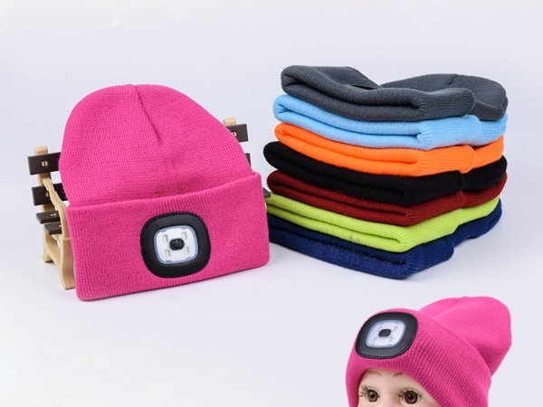 Acrylic wool changeable cell led beanie hat light