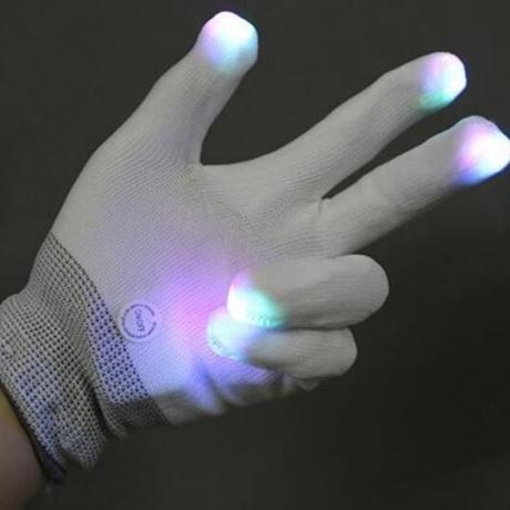 LED flash white gloves