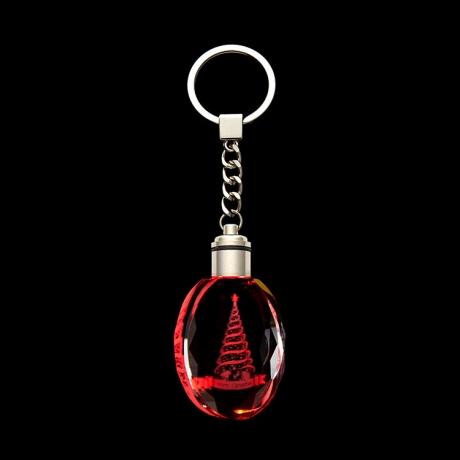 LED flash crystal key chain