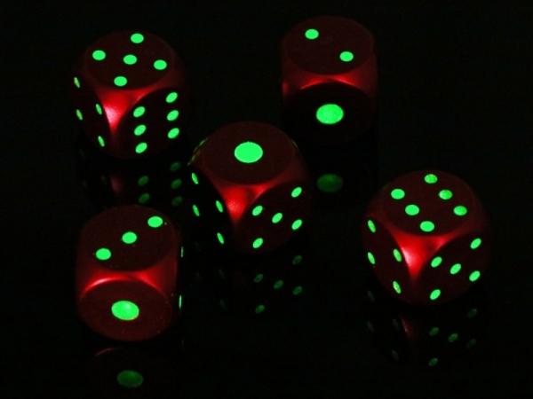 Bright in night metal glow dice