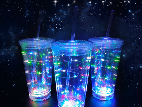 LED string light straw cup with lid
