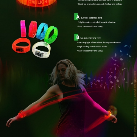 Jelly flashing bracelet with 2 function modes ( No.BB-10 )