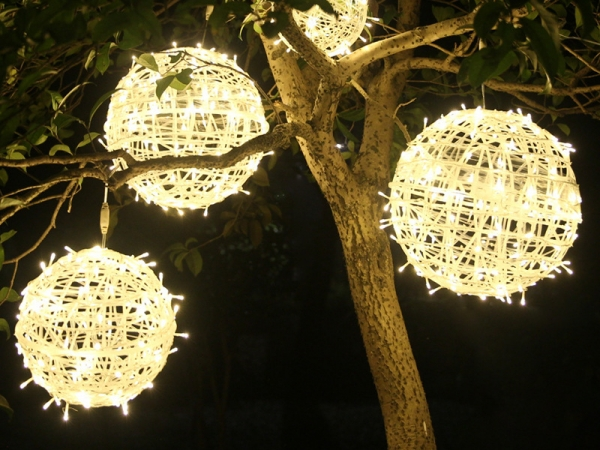 Waterproof garden giant light hanging tree rattan ball