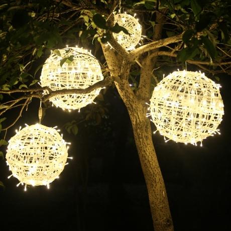 Waterproof garden giant light hanging tree rattan ball
