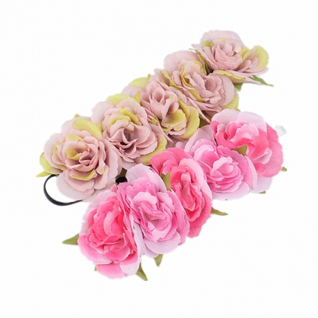 Artificial flower flower elastic hair band wreath