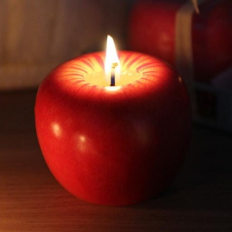 Simulated red apple candle