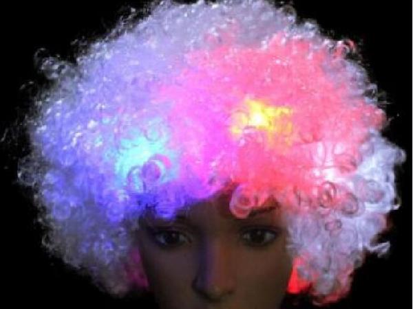 LED flash puffy wig head cover