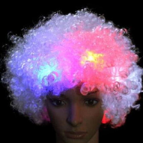 LED flash puffy wig head cover