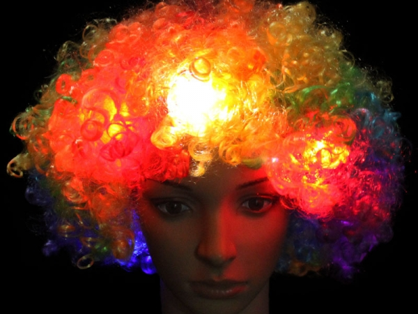 LED glowing explosion head wig