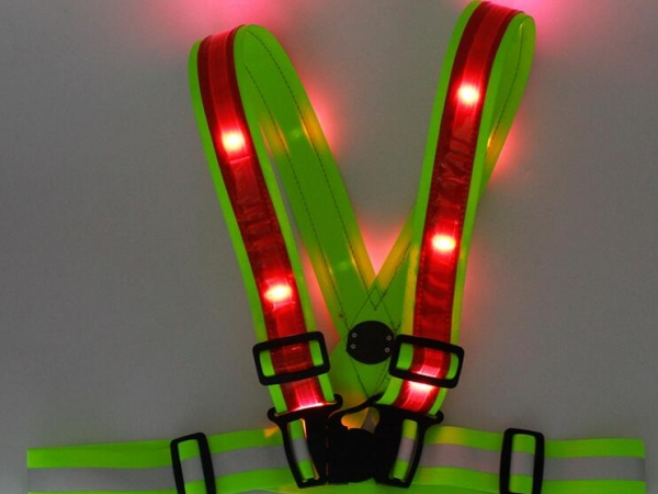Rechargeable LED light warning strap