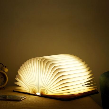 Wood grain LED Foldable decoration book lamp