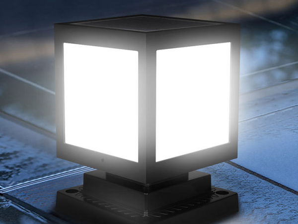Square shaped solar LED lamp for courtyard lighting
