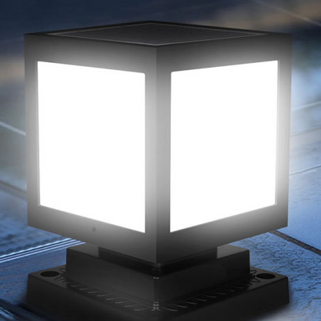 Square shaped solar LED lamp for courtyard lighting