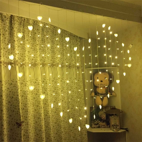 Heart pattern colorful light up curtain lights string LED decoration (ML-019)