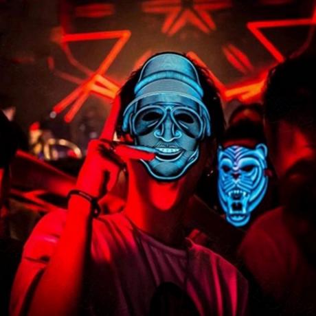 EL cold light sheet multi pattern mask & EL luminous mask, LED luminous mask mask