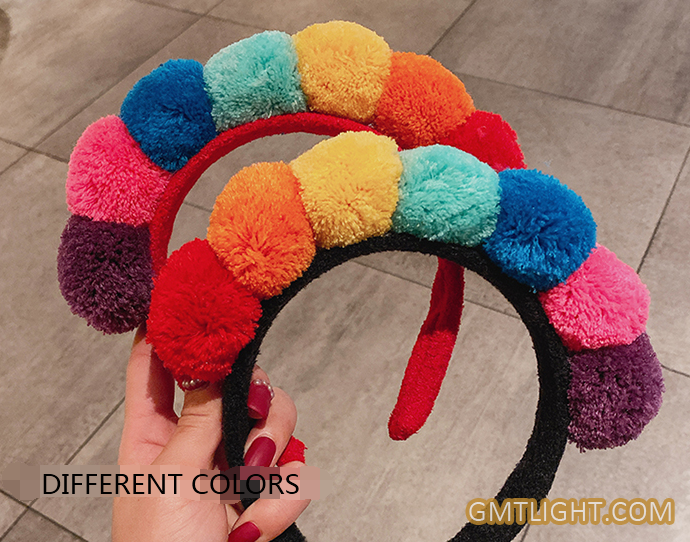 headband with various colors of hair ball
