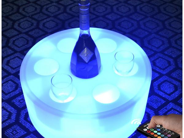 Bar led round light red wine and bottle holder
