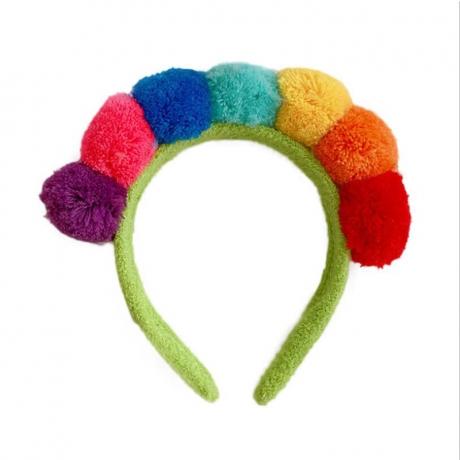 High quality simple design colorful plush ball headband