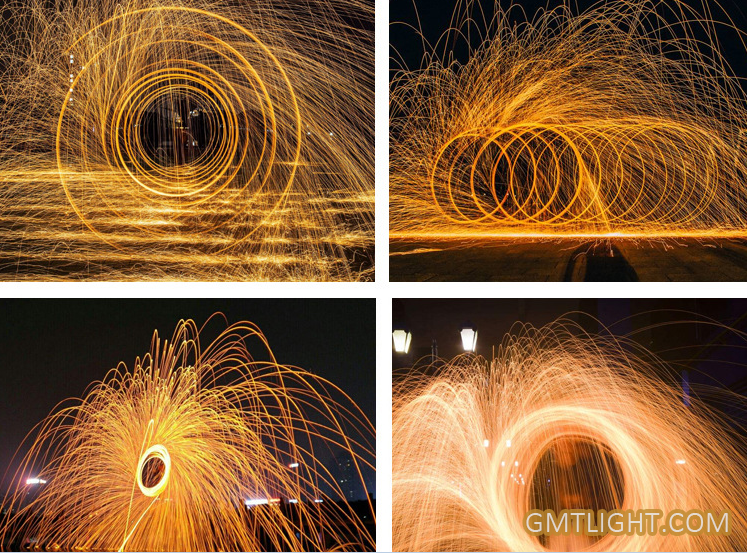 burning steel wool sparkles