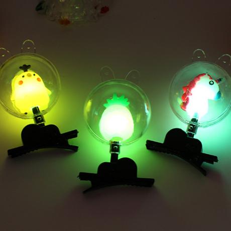 Luminous soft rubber Bobo ball hairpin ornament