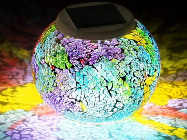 Solar color mosaic glass bulb lamp