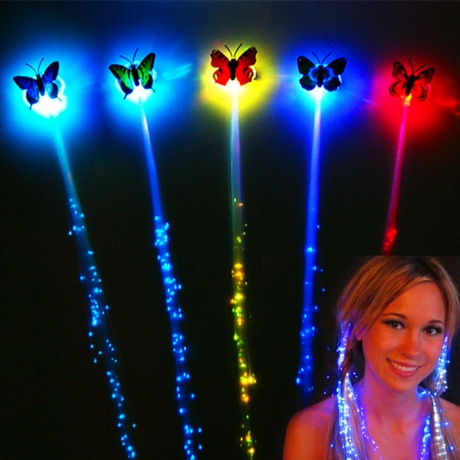 Flashing butterfly fiber led hair braid for Party