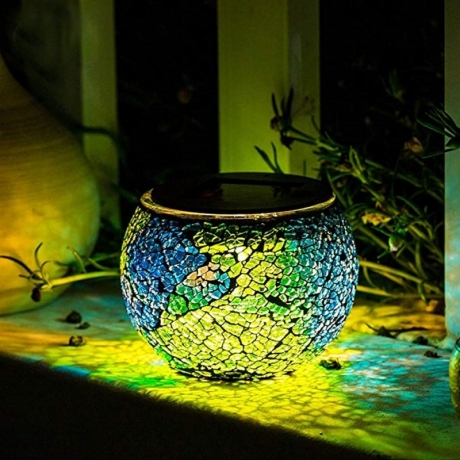 Garden Glass Ball Decoration Lamp Solar charged Mosaic glass lamp