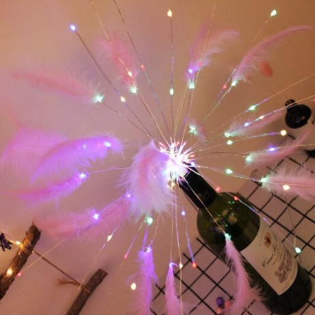 Led feather decoration radial light string