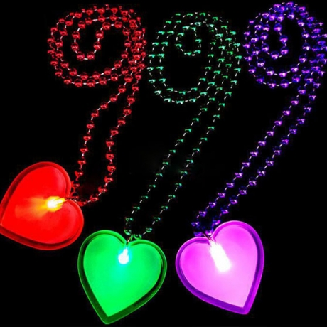 led Heart pin badge with necklace