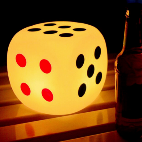 LED emitting decorative dice lamp