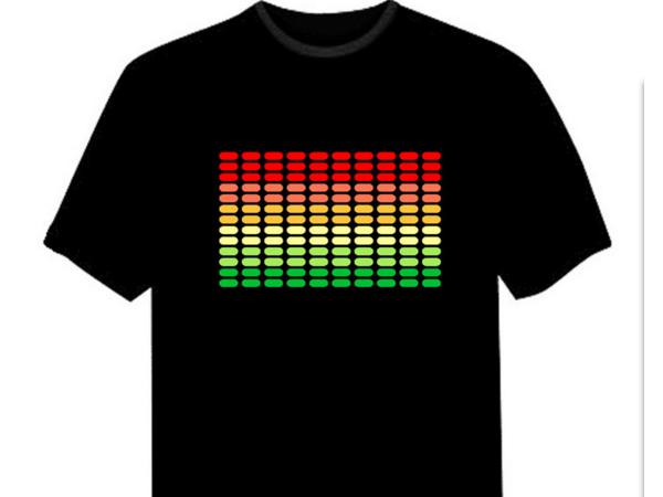 Voice switch led illuminated logo advertising T-shirt