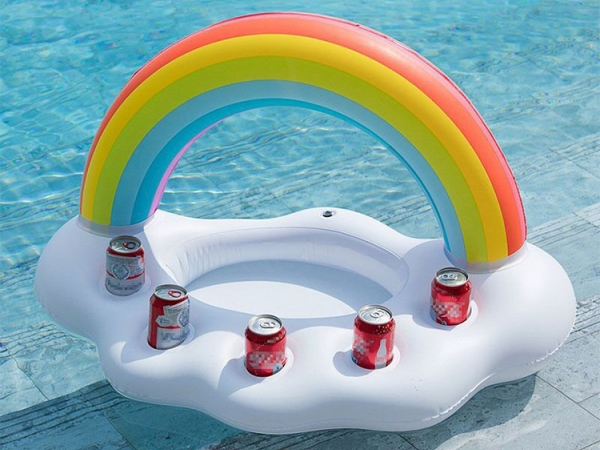 Five hole inflatable rainbow ice drink coaster