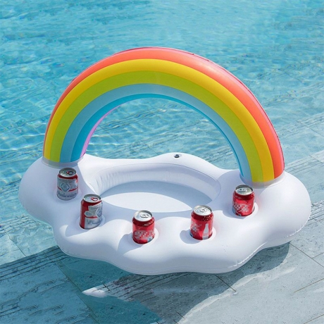 Five hole inflatable rainbow ice drink coaster