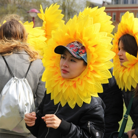 large sunflower smile face for cheerleaders