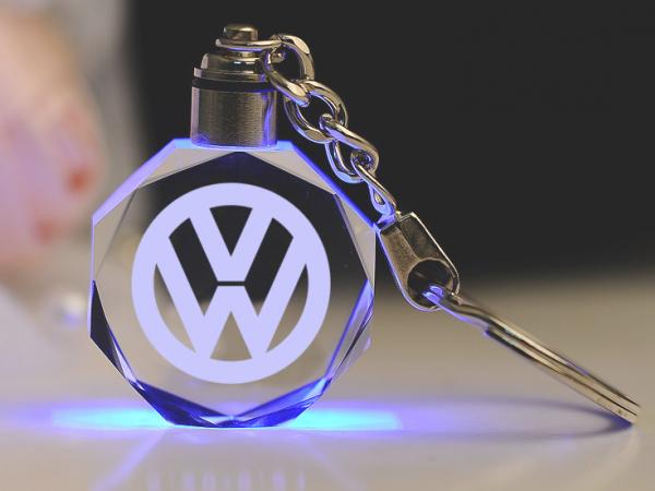 LED illuminated crystal key chain with laser logo