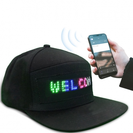 USB rechargeable scrolling and moving message led cap