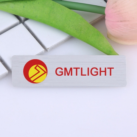 Metal Engraving LOGO Stainless Steel Laser Engraved Name Badge With Pin