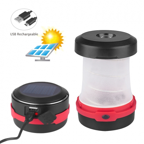 Multi-purpose solar charger for camping tent lamp
